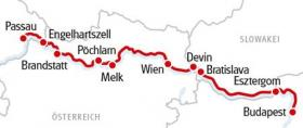 Cycle tour and boat trip on the Danube - map