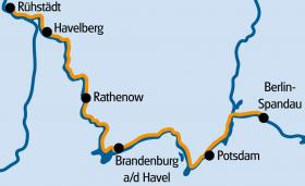 MS Felicitas & the Havel Cycle Path - map