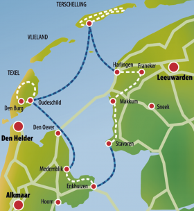 Cycling and the Leafde fan Fryslân - map