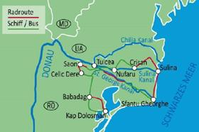 The Danube Delta with Boat & Bike - map