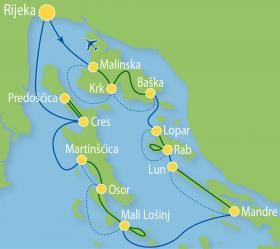 Cycle Tour at the Kvarner Gulf with MS Planka - Map