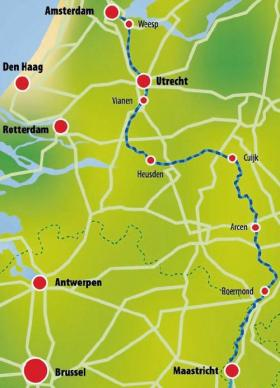 Netherlands by boat & bike - map