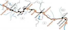 By boat and bike to Budapest - map