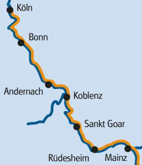 Boat & bike on the Rhine - map