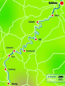 Cycling along Moselle with MS Flora - map